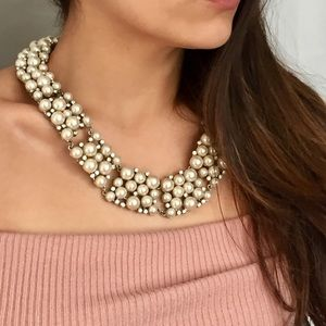 Vintage Pearl and Crystal Statement Necklace
